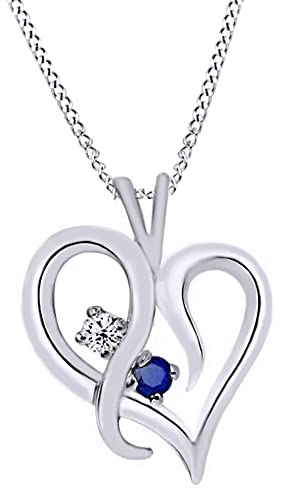 AFFY Simulated Blue Sapphire Natural Diamond Heart Pendant Necklace in 14K Solid Gold