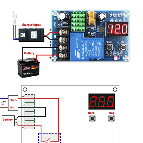 uniquegoods Digital Lead-acid Li-ion Battery Charge Control Module Protection Switch 6-60V