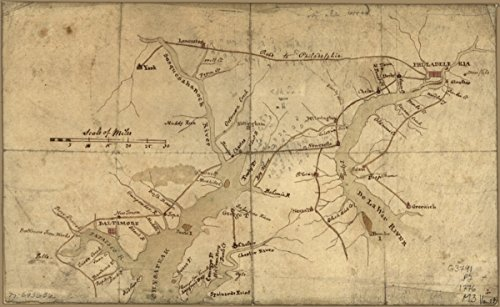 Map: 1776 of the country between and bordering the Delaware River and Chesapeake Bay, showing roads to Philadelphia and localities|Manuscript s|Middle Atlantic - Gift Cards Sell Online Canada