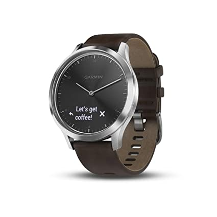 Garmin vívomove HR, Hybrid Smartwatch for Men and Women, Black/Silver with Leather Band, Large (Renewed)