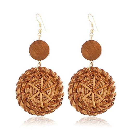 Wood Indian - VONRU Wood Hoop Dangle Earrings - Boho Handmade Straw Braided Drop Lightweight Geometric Statement Earrings - Bamboo Ethnic Earrings for Girls Indian Style for Women (Red Wood Round Earrings)