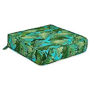 """Al aire libre de profundidad asiento cojín en océano de Back Bay, Bold isla Botanical estilo con Palm diseño de árbol, Tropical Verde y azul color turquesa, 22,5""""L x 23"""" W x 5""""H"""