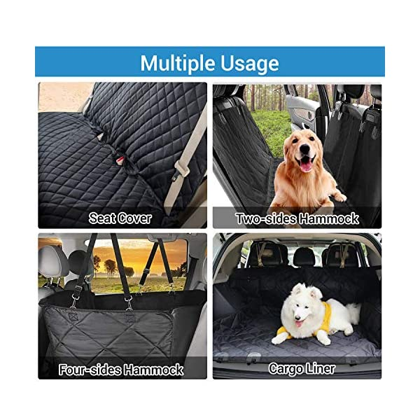 NICREW Dog Car Seat Cover Hammock with Seat Belt 4