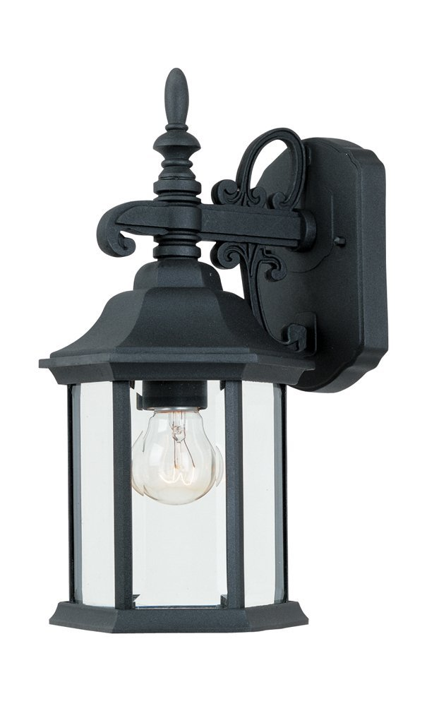 2961-BK Outdoor Wall Lantern, Black Cast Aluminum by Designers Fountain