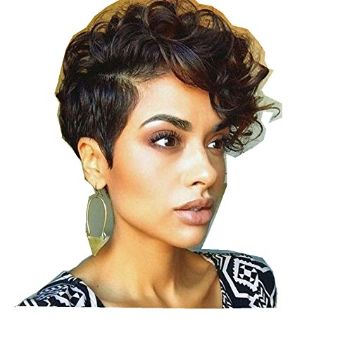 Vibola Women Short Black Brown FrontCurly Hairstyle Synthetic Hair Wigs For Black Women Wig cap (Corn Roll Hairstyle)
