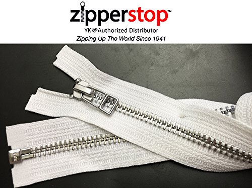 - ZipperStop Wholesale YKK® - Jacket Zipper Aluminum Finished (Custom Length) YKK®#5 Medium Weight with Fancy Bell Pull Slider Separating Color WHITE Made in USA (18 Inches)