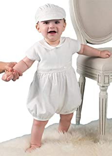 44b4a5aec ShineGown Baby Boys' Christening Outfit Romper Bodysuit with Hat Short  Sleeves Baptism Gown 0-
