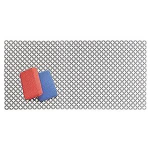 mDesign Tapete antideslizante para proteger el fregadero de arañazos – Alfombrilla de PVC extragrande – Protector de fregadero de cocina con diseño de ...