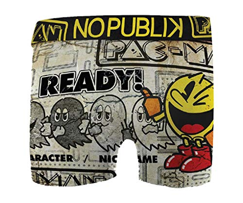 No Publik. Boxer Featuring Pacman for Mens Comfort and Fancy -Assortment Models Photos According to Arrivals- (Large, Vintage 1543 in Microfiber)