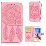 KKEIKO Galaxy S6 Edge Plus Case [Free Tempered Glass Screen Protector], Flip Leather Wallet Case for Samsung Galaxy S6 Edge Plus, Vintage Embossing Flower Galaxy S6 Edge Plus Cover Case (Pink)