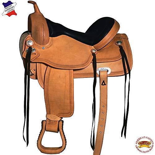 (HILASON 16 Western Horse Saddle American Leather Flex Trail)