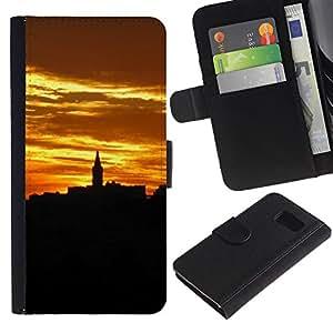 UberTech / Samsung Galaxy S6 SM-G920 / Sunset Relief Gold City Architecture / Cuero PU Delgado caso Billetera cubierta Shell Armor Funda Case Cover Wallet Credit Card