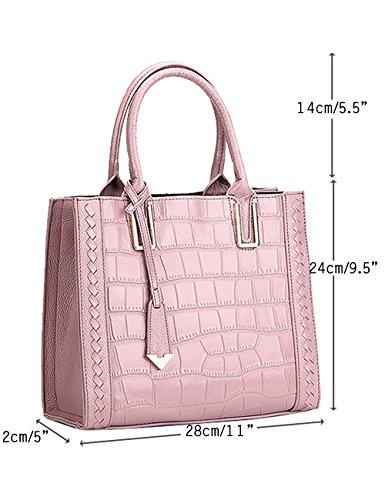Menschwear Womens Genuine Leather Top Handle Satchel Bag Pink by Menschwear (Image #2)