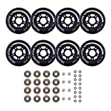 Rollerex Inline Skate/Rollerblade Wheels VXT500 80mm (8-Pack or 2-Pack or 2 Wheels w/Bearings, Spacers and Washers) (80mm Steel Black (8 Wheels w/Bearings, spacers and washers))