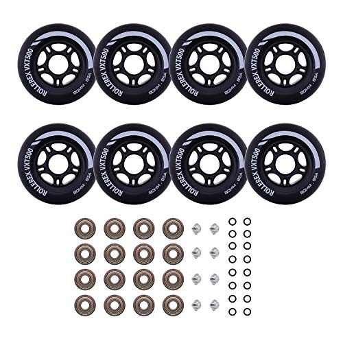 Rollerex Inline Skate/Rollerblade Wheels VXT500 80mm (8-Pack or 2-Pack or 2 Wheels w/Bearings, Spacers and Washers) (80mm Steel Black (8 Wheels w/Bearings, spacers and washers))