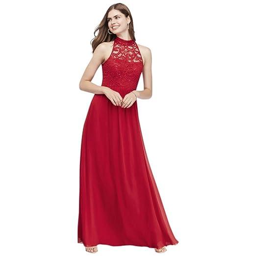 Davids Bridal Illusion High Neck Lace And Chiffon A Line Prom Dress
