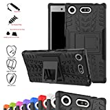 Sony Xperia XZ1 Compact Case,Mama Mouth Shockproof Heavy Duty Combo Hybrid Rugged Dual Layer Grip Cover with Kickstand For Sony Xperia XZ1 Compact (With 4 in 1 Free Gift Packaged),Black