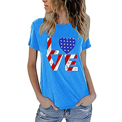 (SOWU Women Short Sleeve T-Shirt Ladies Fashion American Flag Print Casual Slim Fit Crewneck Tee Shirt Blouses Tops Blue)
