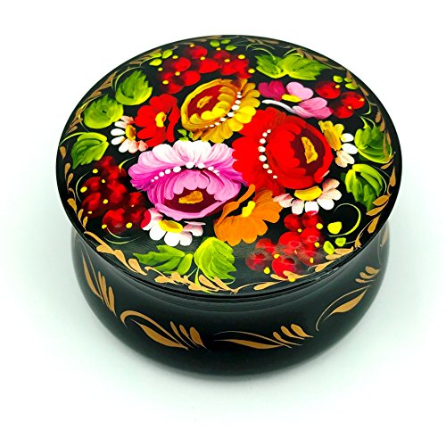 UA Creations Small Lacquer Box for Jewelry, Earrings, Necklace and Rings, Floral Hand Painted Gift for Girls and Women ()