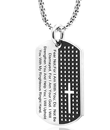 TISDA Stainless Steel Men's Carved Cross and Lord's Prayer Dog Tag Pendant Necklace (necklace)