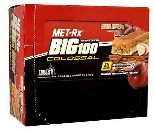 MET-Rx BIG 100 Colossal Meal Replacement Bar Crispy Apple Pie -- 9 Bars