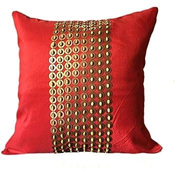 Amazon Com The White Petals Red Gold Decorative Pillow