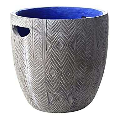 FLOOR | 9 Concrete Planter Pot with Handles, Debossed Diamond Design and Blue Inside Color Wash, Large (9 inch)