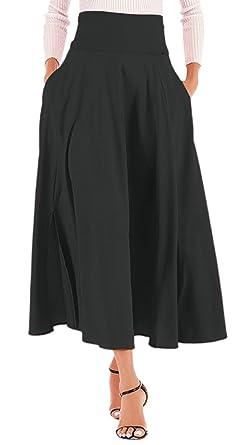 11c60314df0d Calvin&Sally Women's Bow Tie Front Slit Dress High Waisted Long Length Skirt  ...