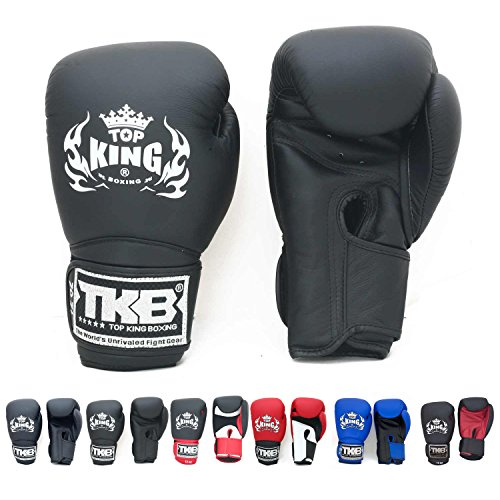 Top King Gloves Color Black White Red Blue Gold Size 8, 10, 12, 14, 16 oz Design Air, Empower, Superstar, and more for Training and Sparring Muay Thai, Boxing, Kickboxing, MMA (Super Velcro - Black/Black/Black 16 oz) (Raja Boxing Gloves)