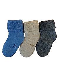 Lian LifeStyle Boy's 3 Pairs Cashmere Wool Socks Plain Color 3 Sizes