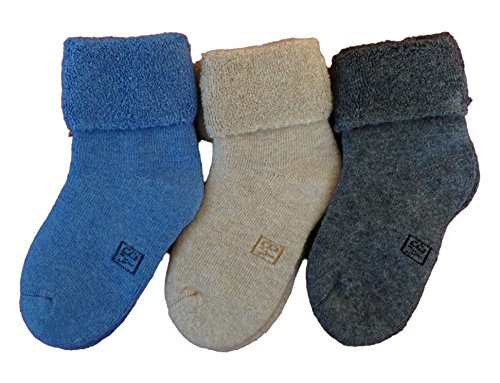 Lovely Annie 3 Pairs Pack Children CashmereWool Socks Plain Color 12M-24M (Blue, Gray, Beige)