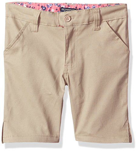(U.S. Polo Assn. Little Girls' Twill Short (More Styles Available), Khaki-IHVGC, 4)
