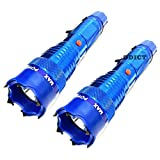 2 PC DELTA FORCE BLUE METAL 105 Million Volt STUN GUN FLASHLIGHT Self Defense