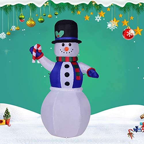 LtrottedJ Christmas Lighted Inflatable Snowman Hat LED Yard Art Decoration Yard Garden -