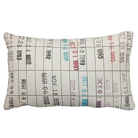 image regarding Printable Library Cards referred to as \ \ \ \ \ Printable Library Playing cards Pillows Pillow 50% Cotton 50% Polyester 20 x 30 inches Pillowcase\ \ \