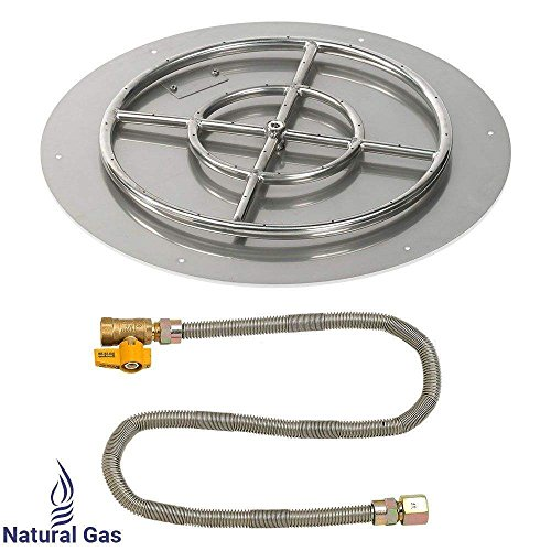 American Fireglass Match Light Fire Pit Kit (SS-RFPMKIT-N-24), Round Flat Pan, Natural Gas, 24-Inch Pan/18-Inch Burner ()