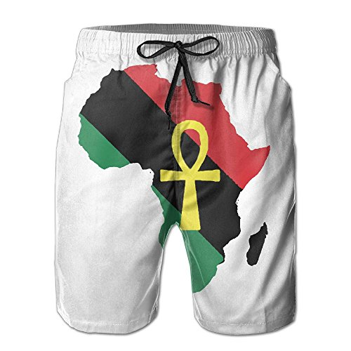 SOURCE POINT Men's Red Black Green Africa MAP and ANKH Summer Beach Shorts Leisure Quick Dry Swimming Pants by SOURCE POINT