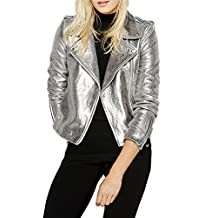 Haoduoyi Womens Causal Soft PU Metalic Silver Crop Top Biker Jacket