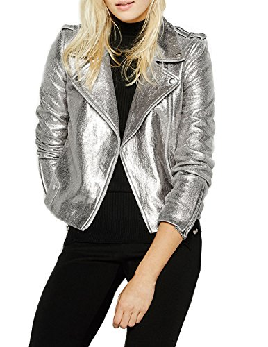 ASMAX HaoDuoYi Womens Causal Soft PU Metalic Silver Crop Top Biker Jacket ()