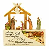 Dicksons Silent Night Nativity LED Lighted 5 x 5 Resin Stone Christmas Nativity Scene Figurine
