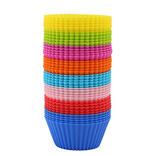 (40x Silicone Baking Cups Reusable Non-stick Cupcake Liners Muffin)