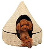 PLS Birdsong Pointy Dog Cave Cuddle Dog Bed, Soft Dog House, Two Modes, Pet Bed, Dog Beds for Medium Dogs, Completely Washable, Beige, Large