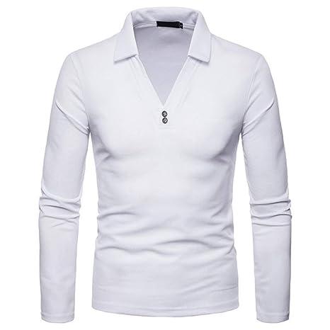 NISHIPANGZI V-Cuello Polo Hombres Camiseta de Manga Larga Casual ...