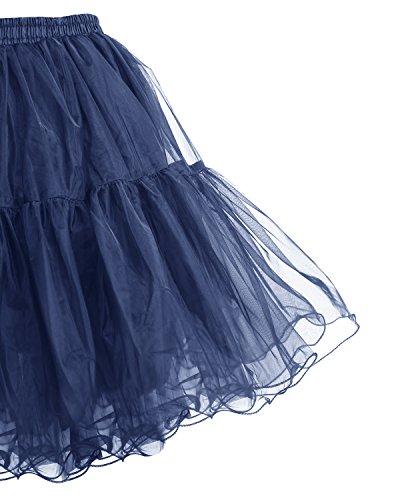 Bridesmay Mujer Enagua Corta Vintage Rockabilly Cancan Tutu Azul Marino