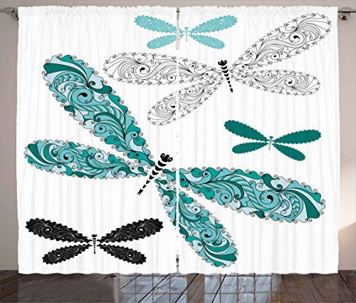 Curtains, Ornamental Dragonfly Figures with Lace and Damask Effects Artsy Image, Living Room Bedroom Window Drapes 2 Panel Set, 108 W X 63 L inches, Teal Turquoise Black ()