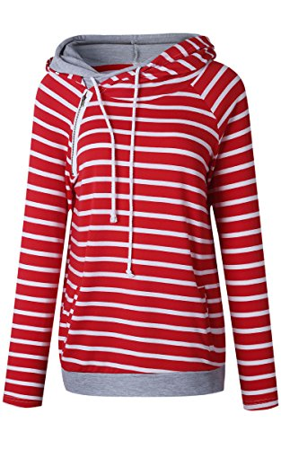 Angashion Womens Hoodie-Tops-Striped Cowl Neck Drawstring Hooded Pullover Sweatshirt With Pockets, Red Striped, US 12/Tag 2XL