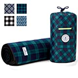 Blue and Green Plaid Picnic & Outdoor Blanket Laguna Beach Textile Co | Plush and Water-Resistant Outdoor Mat - Perfect for Camping, Beach, Park and Festivals | Marina Green Plaid