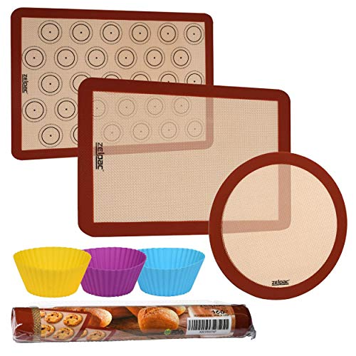 Zelpac Silicone Baking Mats 3 Pack - Reusable Nonstick Liners for Baking Pans and Cookie Sheets - Large, Medium and Round - Microwave, Oven and Dishwasher Safe - Bonus Silicone -