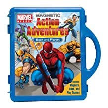Marvel Heroes Action Adventures: Book & Playset [With Fact-Filled Guidebook to Most Pupular Super Heroes and 8 Colorful Play Scenes and 60 Magnetic