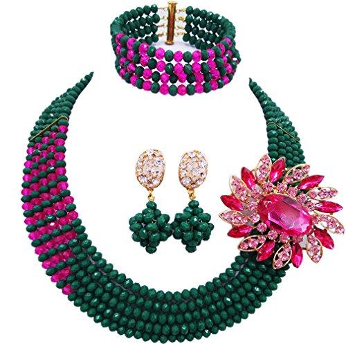 aczuv African Wedding Jewelry Set Nigerian Beads Necklace Bridal Jewelry Sets (Opaque Dark Green Hot Pink)]()